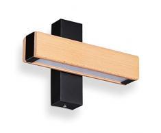 Relaxdays Lámpara Pared LED, Luz Indirecta, Aplique para Pasillo y Escaleras, Hierro-Madera-Cristal, 4,5x21x8 cm, Negro