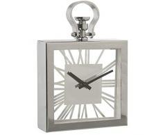 DRW Reloj Rectangular de sobremesa de Cristal y Espejo Transparente y Espejo 15,5x20x5cm