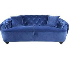 DRW Sofá Estilo Chic capitone con 2 Cojines Azul eléctrico 213X103X84 cm