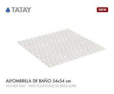 TATAY 5511301 - Alfombra antideslizante para ducha o bañera con diseño de peces, 54 x 54, blanco opaco