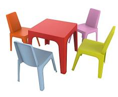 resol Julieta set infantil para interior, exterior, jardín - 1 Mesa Roja + 4 Sillas Rosa/Naranja/Azul/Lima