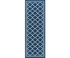 Universal Alfombra marroquí Tile Camino de transición Accent Alfombra, Azul Marino, 221 x 79 cm