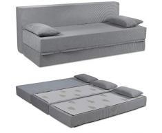 Baldiflex Sofá Cama de 3 Plazas Espuma viscoelastica, Modelo Tetris. Confortable Funda extraíble y Lavable. Color Plateado.