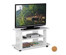 Relaxdays Mueble TV Ruedas con 2 Compartimentos, Mesa Televisión, 45 x 80 x 40 cm, Blanco