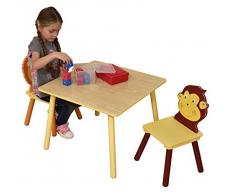 Liberty House Toys Juego de Mesa y 2 sillas para niños, Madera, diseño de la Selva, Multicolor