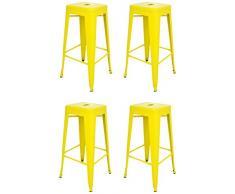 La Silla Española - Pack 4 Taburetes estilo Tolix. Color Amarillo. 76x43x43