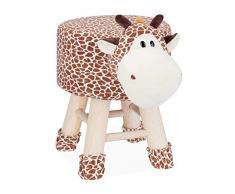 Relaxdays Taburete Infantil Animal Forma de Jirafa con Funda Extraíble, Madera, 34,5 X 28 cm