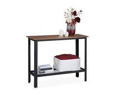 Relaxdays Consola Recibidor, Mesa Entrada, Mueble Industrial, Acero-PB, 1 Ud, 80 x 101,5 x 35cm, Negro y Marrón