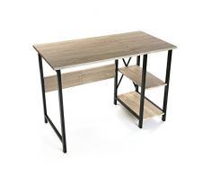 Versa 20880021 Mesa de Escritorio Plegable para Ordenador Despacho con Estantería, Madera y Metal, Marrón y Negro, 75 x 55 x 108,5 cm