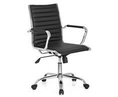 hjh OFFICE 660941 VEMONA 10 Silla de oficina, piel sintética negro cromado