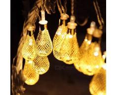 4 m 20-LED guirnalda de metal gota de hadas cadena de luz para patio al aire libre fiesta de bodas decoracion de navidad calido blanco