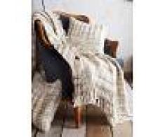 Venca Manta para sofá en tejido tramado con flecos natural