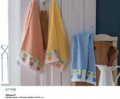 BOMDIA CLASSIC® 3 Paños de cocina rizo 50x50 cm color azul naranja amarillo (KT 136)