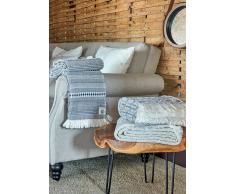 DeVilla Manta para sofa azul, beige, 130x170 cm - mantas decorativas jacquard con flecos (5013 FA)