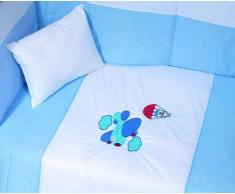 Edredón cama bebé 100x140 cm + Protector cuna bebé 45x180 cm + almohada 30x40 cm (conjunto bebé azul)