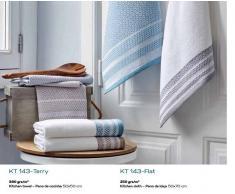 BOMDIA CLASSIC® 2 Paños de cocina sarga 50x70 cm - 2 toallas cocina rizo 50x50 cm (KT 143 Terry / KT 143 Flat)