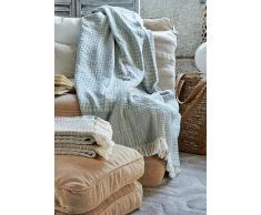 DeVilla Manta para sofa 130x170 cm - mantas decorativas jacquard con flecos (5008 PA)