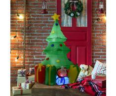 HOMCOM ® Árbol de Navidad Inflable 1.5m Árbol Decorativo Navideño con Adornos Regalos Iluminado LED