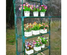 Outsunny Invernadero de Jardín Caseta para Cultivos Plantas Tomates Flores 143x73x195cm Tubo de Acero Cubierta PVC
