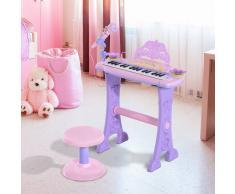 HOMCOM ® Teclado Electrónico Infantil 32 Teclas Juguete Musical con Micrófono Taburete