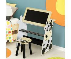 HOMCOM ® Conjunto Mesa y Silla Infantil Diseño Vaca para Jugar 60x40x60cm