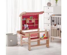 HOMCOM ® Tienda de Juguete Madera para Niños +3 Años Roja 90x70x120cm