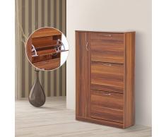 HOMCOM Zapatero Original y Paragüero Organizador – Tipo Recibidor con 1 Puerta y 3 Cajones – Nogal – 80 x 24 x 120cm