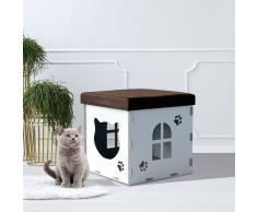 PawHut ® Casa de Gato Caseta Mascota con Tapa para Sentarse Carga 80kg 40x40x40cm