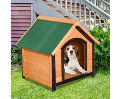 PawHut Caseta de Madera Maciza para Perro - Casa de Perro Impermeable con Patas Elevadas para Interior y Exterior -72x76x76cm
