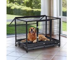 PawHut Jaula de Metal para Mascotas tipo Perro Grande con Ruedas y Bandeja Extraíble - 92x62x75cm