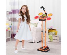 HOMCOM ® Kit Tambor de Jazz con Micrófono Set Batería Electrónica Infantil Juguete Musical de Instrumentos con MP3 45x25x140cm Naranja
