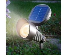Esotec Foco solar Spotlight con luz LED blanca cálida