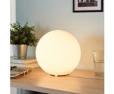 Lampenwelt.com Lámpara de mesa Marike cristal esférico, blanco