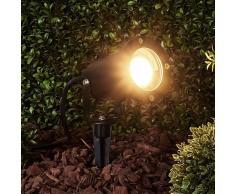 Lampenwelt.com Foco para exteriores Tessa negro con estaca