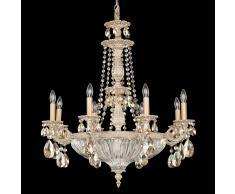 Schonbek Lámpara de araña Milano con cristal, dorado-blanco