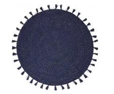 Maisons du Monde Alfombra redonda con pompones de algodón azul marino D.100