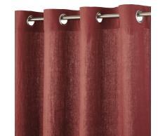 Maisons du Monde Cortina de ojales de lino rojo carmín 130x300