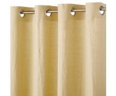 Maisons du Monde Cortina de ojales de lino lavado amarillo 130x300