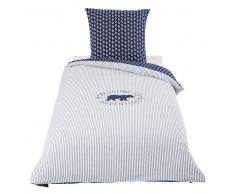Maisons du Monde Juego de cama infantil de algodón azul 140x200