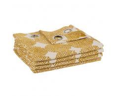 Maisons du Monde Cortina de ojales amarillo mostaza con motivos decorativos 135x250