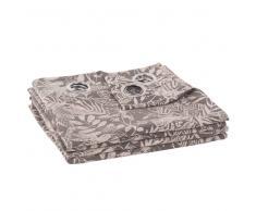 Maisons du Monde Cortina de ojales con tejido jacquard y estampado de motivos vegetales 135x270