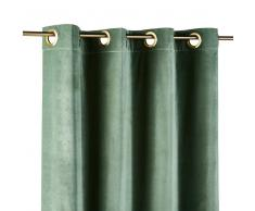 Maisons du Monde Cortina de ojales de terciopelo verde tilo 140x300