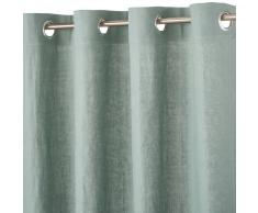 Maisons du Monde Cortina de ojales de lino lavado verde grisáceo 130x300