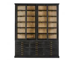 Maisons du Monde Vitrina con 4 puertas y 12 cajones de pino reciclado negro Moliere