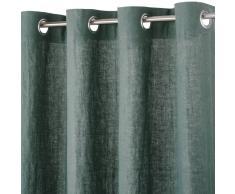 Maisons du Monde Cortina de ojales de lino lavado verde albahaca 130x300
