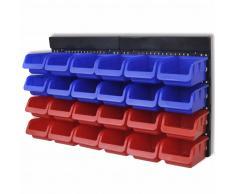 vidaXL Organizador de herramientas para pared, 2 piezas, Azul/ Rojo