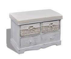 vidaXL Banco baúl de madera blanca, con cajones / cestas