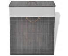 vidaXL cesto de colada rectangular de bambú color marrón