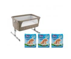 Chicco cuna de viaje next2me + Chicco Pañales Dry Fit Advanced Maxi T4 8-18 kg 19 Unidades x3 cajas