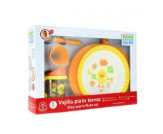 Saro Vajilla con Plato Termo Naranja 3pzs